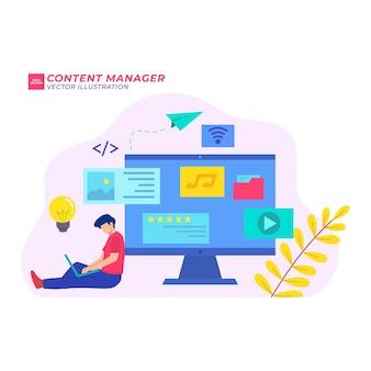 Menedżer treści płaski ilustracja media marketing online komputer do projektowania