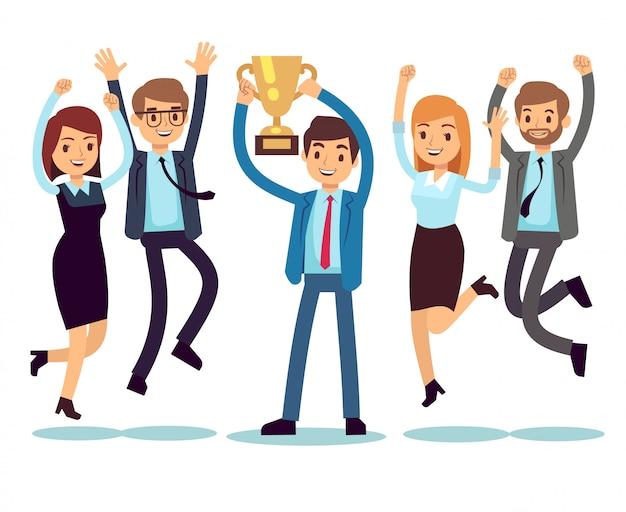 Menedżer ze zwycięskim pucharowym trofeum i skaczącymi pracownikami. sukces działalności zespołu wektor płaski koncepcja