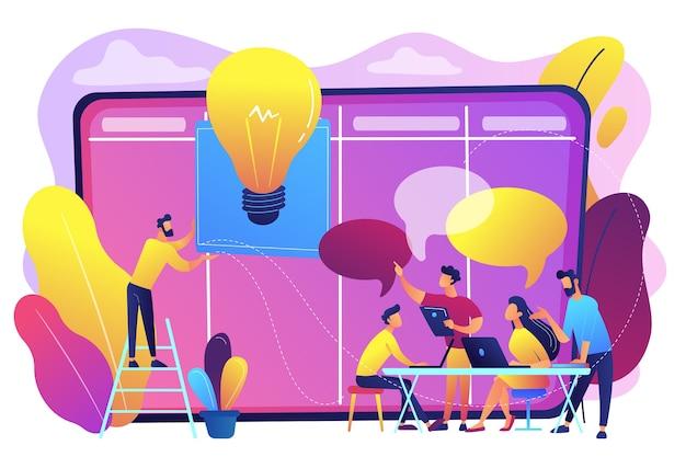 Menedżerowie na warsztatach szkolą umiejętności menedżerskie i burzą mózgów na pokładzie. warsztaty menadżerskie, kurs dla superwizorów, koncepcja szkolenia menedżerskiego.