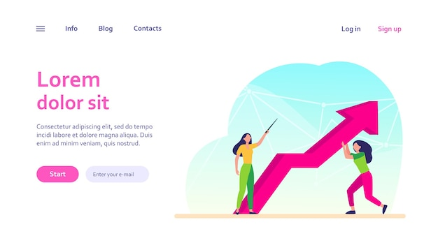 Menedżerowie odporni na kryzys. kobieta skierowana w górę, jej kolega trzyma strzałkę wzrostu. biznes, rozwiązywanie problemów, koncepcja couching dla projektu strony internetowej lub strony docelowej