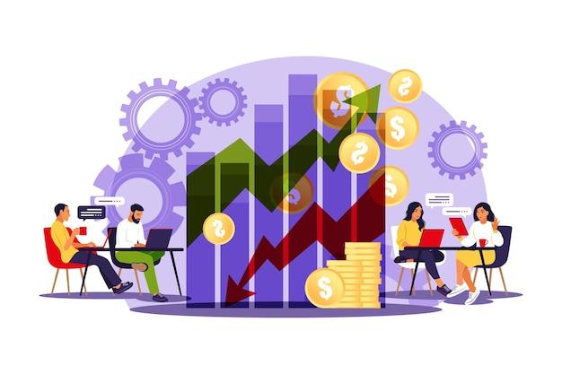 Menedżerowie sprzedaży. wykres wzrostu. wzrost sprzedaży, promocja sprzedaży i koncepcja operacji. ilustracja wektorowa. mieszkanie.