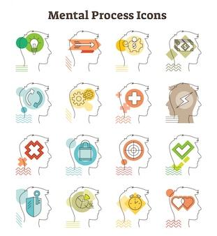 Mentalny proces wektorowe ikony kolekcja