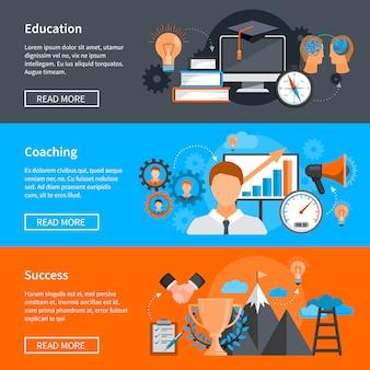 Mentoring coaching bannerów z koncepcjami rozwoju umiejętności