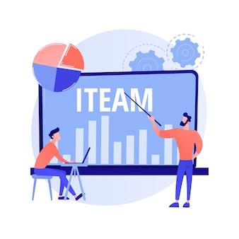 Mentoring w zarządzaniu it. optymalizacja przepływu pracy, statystyki wydajności firmy, cyfrowa analiza danych. kobieta-mentorka uczy umiejętności obsługi komputera.