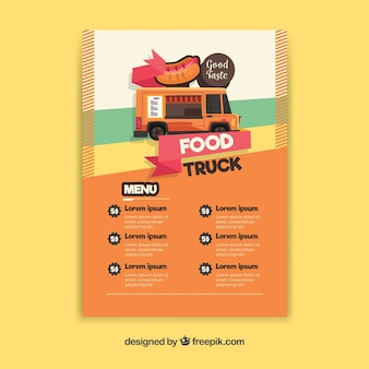 Menu ciężarówek z hot dogiem