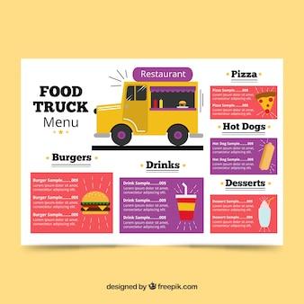 Menu ciężarówek żywności z różnorodnością żywności
