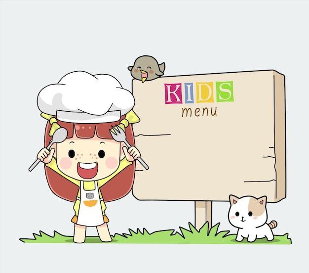Menu dla dzieci mała dziewczynka kucharz dzieci z pustą tablicą menu ilustracja kreskówka