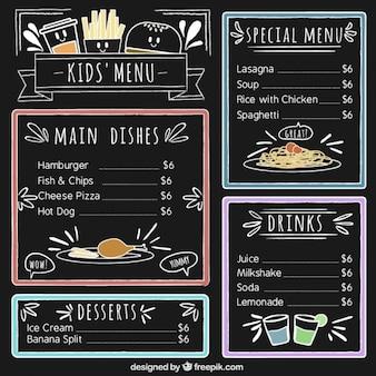 Menu dla dzieci ze szczegółami kolorów i tablicy tle