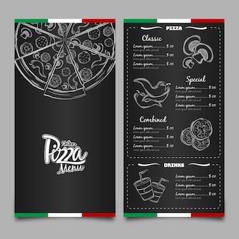 Menu dla pizzerii w restauracji
