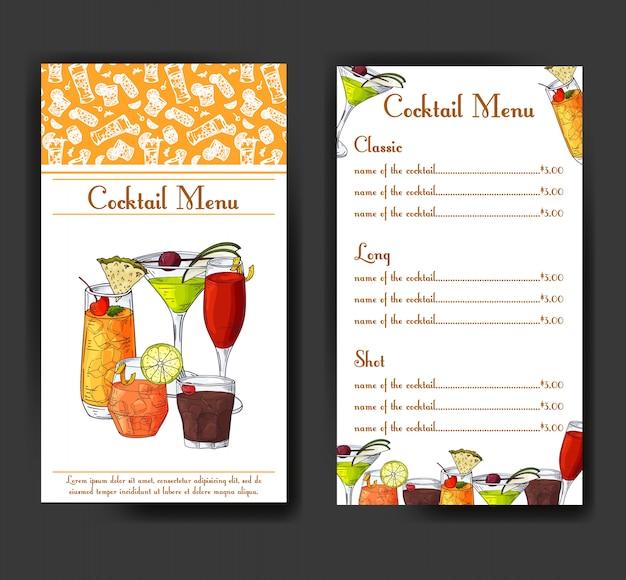 Menu drinków koktajlowych