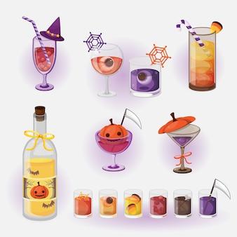 Menu drinków na halloween. halloweenowe menu napojów.