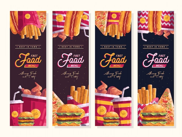 Menu fast food banner pionowy wektor zestaw szablonu