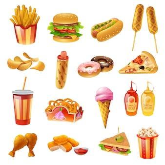 Menu fast food kolorowe ikony ustaw
