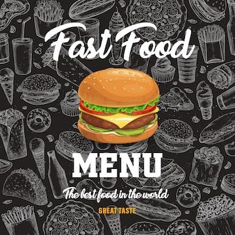 Menu fast food z burger kreskówka na tle czarnej tablicy z szkicem posiłków fastfood. hot dog, pizza i kanapka, napój gazowany, frytki i tacos przekąski na wynos, plakat fast foodów