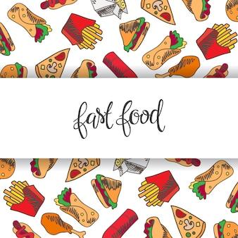 Menu fast food. zestaw ikon w tle. frytki, hamburger, frytki ze słodkich ziemniaków