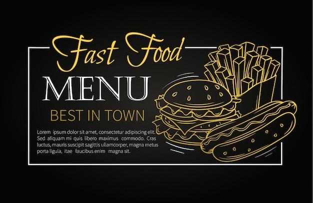 Menu fast food.