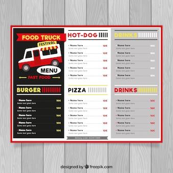 Menu foodtruck z różnorodnymi potrawami