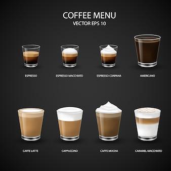 Menu gorącej kawy w szklanym kubku z ekspresu do kawy dla kawiarni,