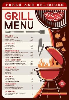 Menu grillowe z szablonem żywności z grilla