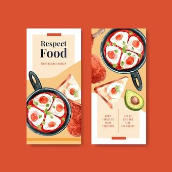 Menu i ulotka z projektem koncepcyjnym światowego dnia żywności dla restauracji i ulotki akwarela