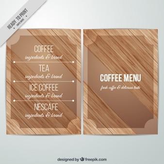 Menu kawa teksturą drewna