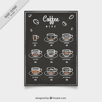 Menu kawa ze szkiców w stylu vintage