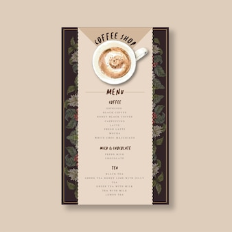 Menu kawiarni americano, cappuccino, menu espresso, infografika, ilustracja akwarela