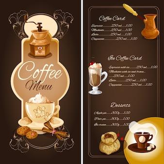 Menu kawiarni kawy