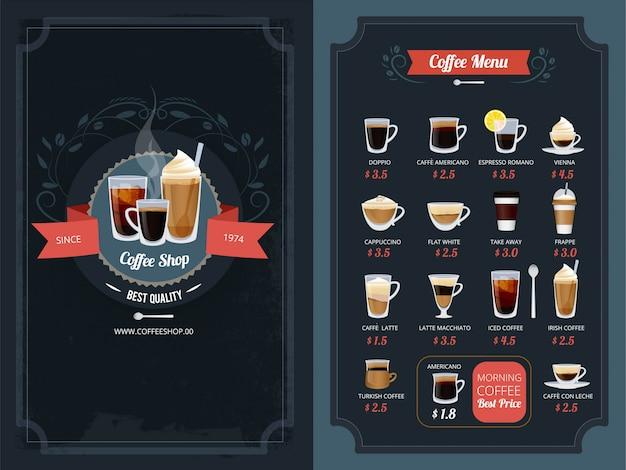 Menu kawowe z różnymi rodzajami. cappuccino, macchiato, latte i inne