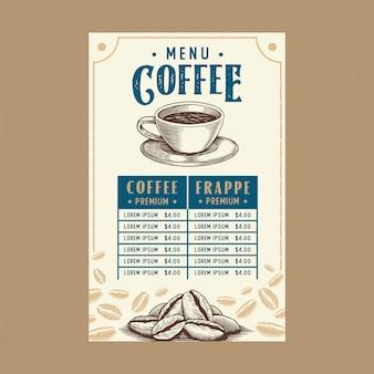 Menu kawy w restauracji