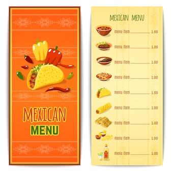 Menu meksykańskie jedzenie