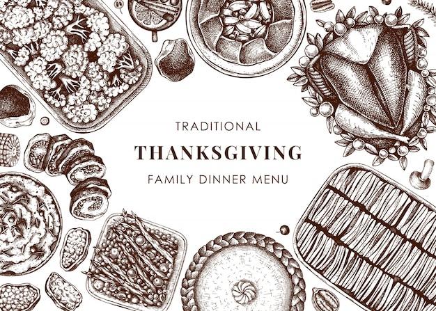 Menu obiadowe w święto dziękczynienia. pieczony indyk, gotowane warzywa, wędliny, szkice warzyw i ciast. rama starodawny jesień jedzenie. szablon święto dziękczynienia. ilustracji wektorowych.