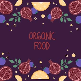 Menu owoców ekologicznych. ilustracja z granatów i plastrami pomarańczy.