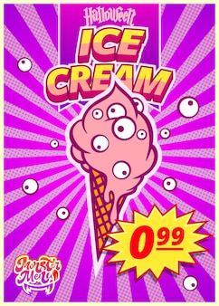Menu potwora z lodami. pionowy baner z ceną dla kawiarni fast food w dzień halloween. ilustracja wektorowa.