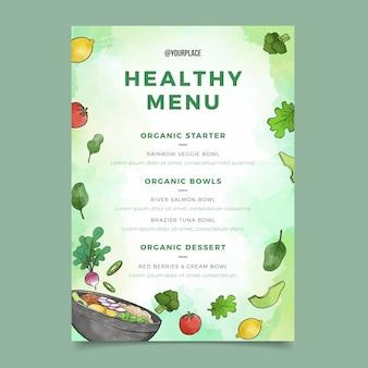 Menu restauracji akwarela zdrowej żywności
