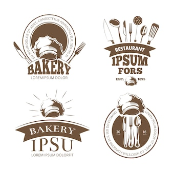 Menu restauracji, etykiety, emblematy, odznaki, logo