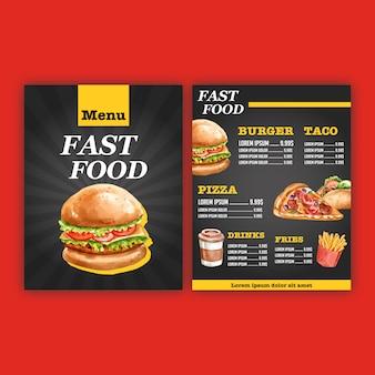 Menu restauracji fast food. lista menu granicy ramki przystawek