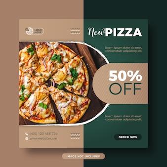 Menu restauracji fast food pizza media społecznościowe post i banner internetowy