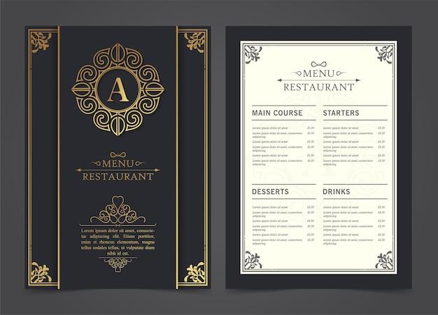 Menu restauracji luksusowy szablon projektu