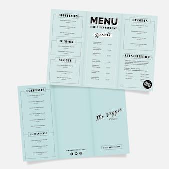 Menu restauracji monochromatyczne niebieski zdrowej żywności