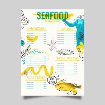 Menu restauracji przysmaków z owoców morza