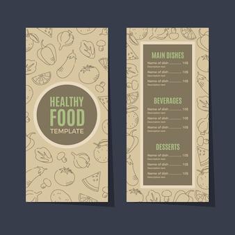Menu restauracji retro zdrowej żywności