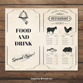 Menu restauracji rocznika szablonu