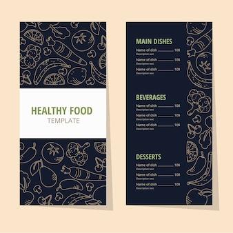 Menu restauracji rocznika zdrowej żywności