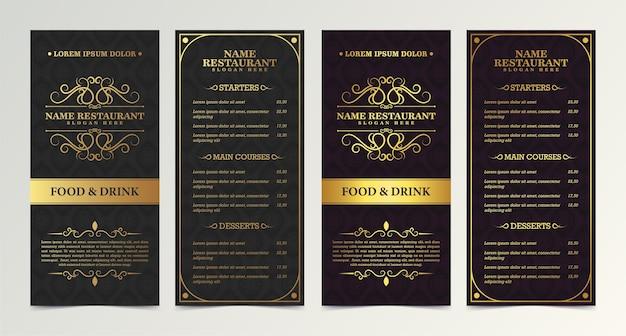 Menu restauracji w eleganckim ozdobnym stylu