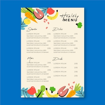 Menu restauracji warzywnych i owocowych