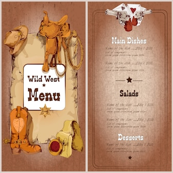 Menu restauracji wild west