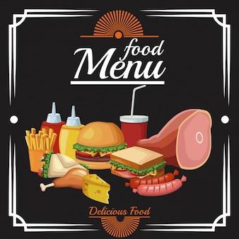 Menu restauracji z jedzeniem
