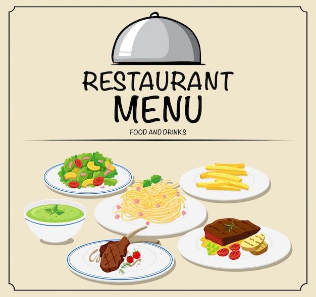 Menu restauracji z różnymi potrawami