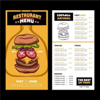 Menu restauracji z sugestywnym hamburgerem